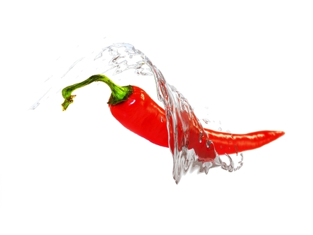 3D illustration of red chilly pepper on white background with water splash