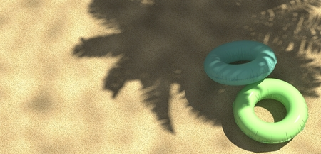 Palm tree and tropical beach with floating ring from above, 3d rendering
