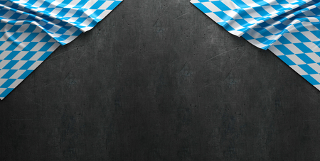 Rustic background for Oktoberfest with bavarian white and blue fabric - 3D rendering