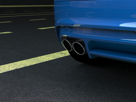 Close up of a car dual exhaust pipe, 3d rendering