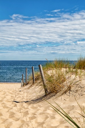 Dune at the Baltic Sea, Grass sand dune beach sea view Stock Photo