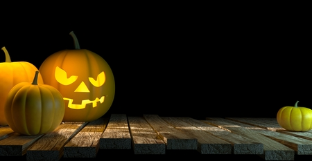 Lanterns Glowing At Moonlight In The Spooky Night - Halloween Scene, 3d rendering Stock Photo