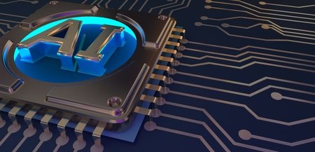 Artificial Intelligence symbol on circuit board 3d Rendering