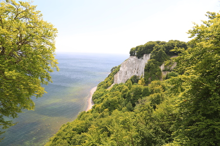 Chalk cliffs and blue sea in Ruegen island, Baltic Sea, Germany Stock Photo