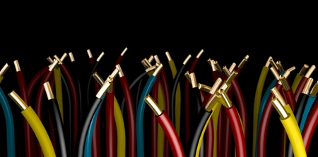 a Group of electrical cables on black backgound - 3d rendering Stock Photo