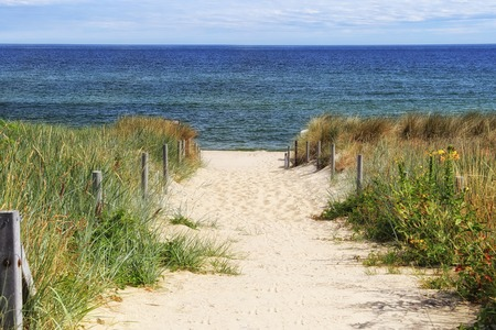 Dune at the Baltic Sea, Grass sand dune beach sea view Stockfoto