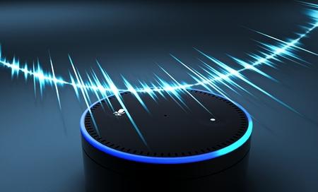 Representación 3D del sistema de reconocimiento de voz sobre fondo azul.