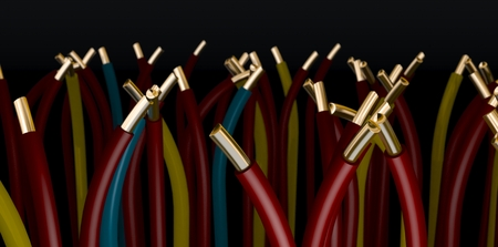 a Group of electrical cables on black backgound - 3d rendering Stockfoto