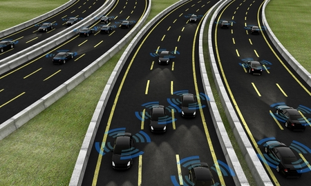 Autonomous cars on a road, 3d rendering