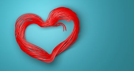3D render of valentines day card. Single beautiful red heart card Stockfoto