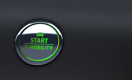 green car button. Concept of e-mobility. 3d Rendering