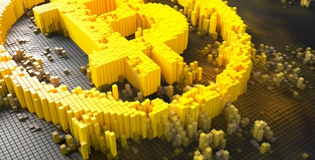 3d rendering of small golden dice forming a bitcoin symbol