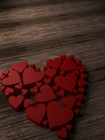 Valentines Day background with hearts. 3d Rendering