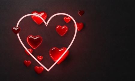 a neon light heart for valentines day, 3d renderimng Stock Photo