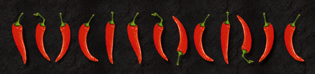 Illustration of red chili peppers on slate backgroundpanoramic format