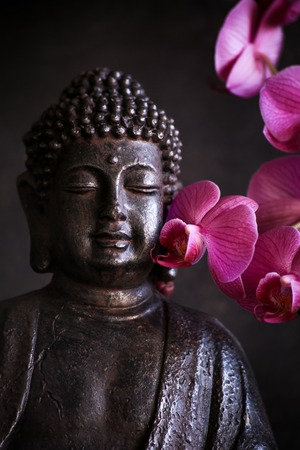 Buddha in meditation with orchid on dark background Stock Photo