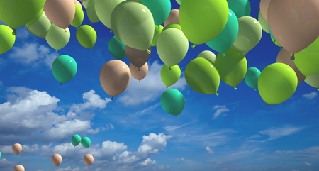 Colorful balloons with blue sky 3d rendering