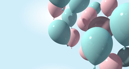 background with pink and blue balloons on soft background. 3d rendering Stockfoto - 127695301