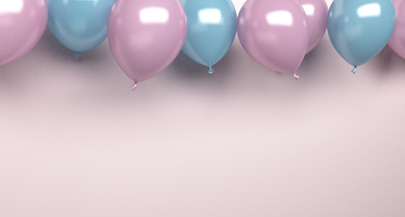 background with pink and blue balloons on soft background. 3d rendering Stock fotó