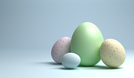 A group of easter eggs on light blue background, 3d rendering