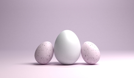 A group of easter eggs on bright pink background, 3d rendering