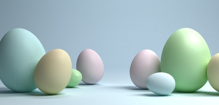 A group of easter eggs on light blue background, 3d rendering Stockfoto - 127695277