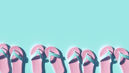 Pink Slippers with Shadow on light blue Background Flat Lay Top View, 3d rendering Stockfoto - 127695294