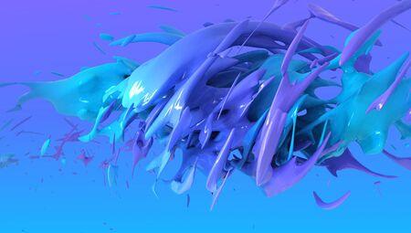 blue Liquid color background design. 3d rendering 写真素材
