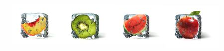 Fruits in ice cubes isolated in white background, 3d Rendering Stock fotó