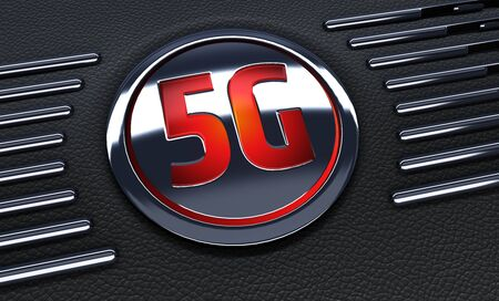 close up of red button. Concept of 5G symbol . 3d Rendering