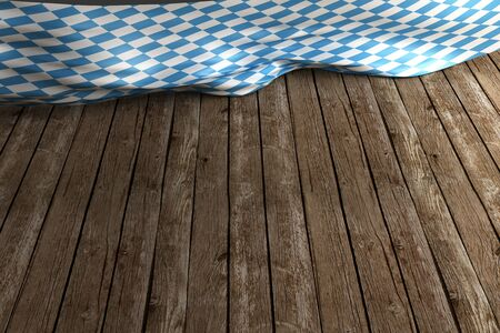 Rustic background for Oktoberfest with bavarian white and blue fabric on wood 3D rendering Stock fotó