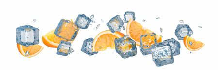 Pieces of oranges with ice cubes, isolated on white background - 3d Rendering