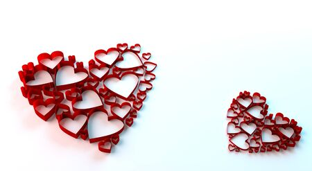 3D render of valentines day card. Single beautiful heart card