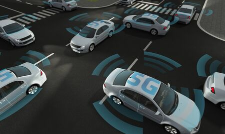 Autonomous cars on a road with visible 5G connection