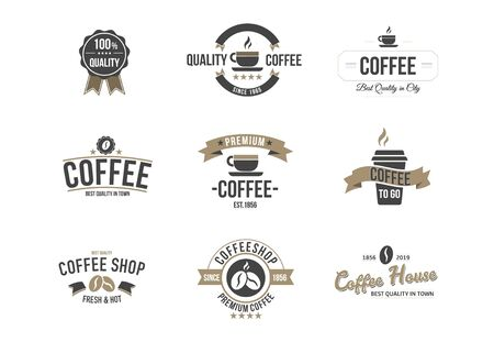 Set of Vector Coffee Logotype Templates and Coffee Accessories Illustration