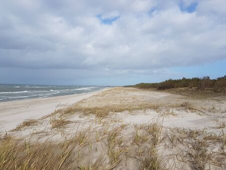Dune at the Baltic Sea, Grass sand dune beach sea view Standard-Bild