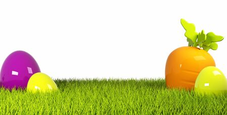Colorful easter eggs in a row on green grass 3d rendering Standard-Bild