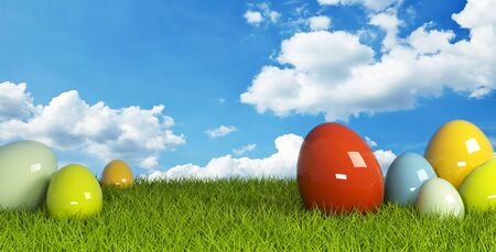 Colorful easter egg on green grass