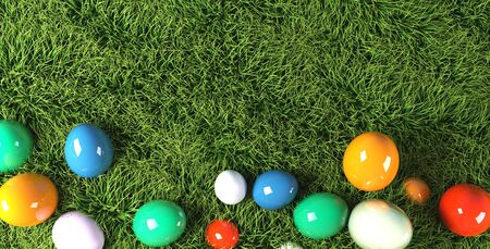 colorful Easter eggs in grass 3d rendering. Standard-Bild