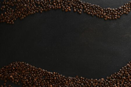 coffee beans on rustic slate background waveform