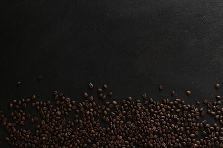coffee beans on rustic slate background conzept 写真素材