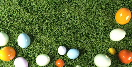 colorful Easter eggs in grass 3d rendering. 写真素材