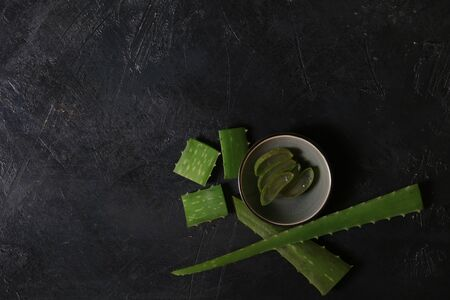 fresh aloe vera blower on dark background. 写真素材