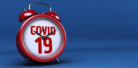 Alarm clock with Covid 19 or coronavirus lettering concept. 3d Rendering