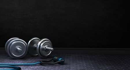 Dark Fitness background with dumbbells. 3d Rendering. 写真素材