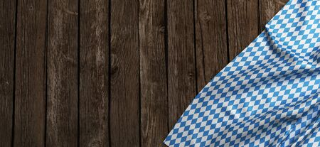 Rustic background for Oktoberfest with bavarian white and blue - 3D rendering