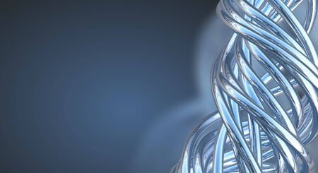 Blue Aluminum abstract string artwork background 3d illustration