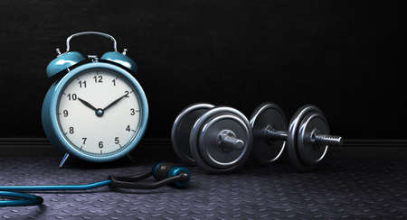 Dark Fitness background with alarm clock and dumbbells. 3d Rendering