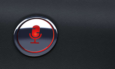 close up of red car button. Concept of voice recognition system. 3d Rendering