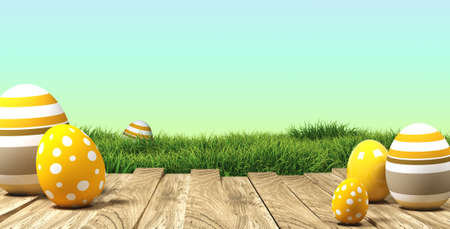 3d rendering of easter eggs on wood with grass and sky in the back 写真素材